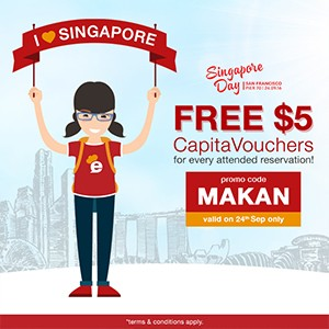 FREE CapitaVoucher to give away and a special shout out to Singapore Day taking place in San Francisco today!