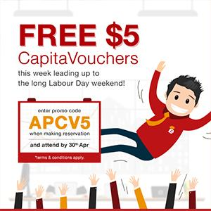 Free CapitaVouchers this week leading up to the long Labour Day weekend!