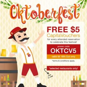 FREE $5 CapitaVouchers this Oktoberfest weekend plus selected restaurants to pair up Happy Hour promos with eatigo discounts!