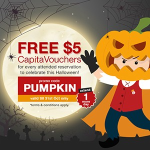 + 1 day! FREE $5 CapitaVouchers to hand out for Trick-or-Treating this Halloween!