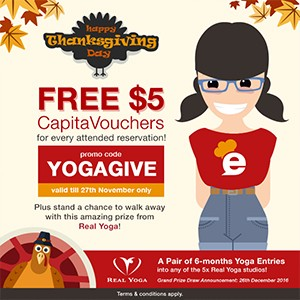 [Giveaway] FREE $5 CapitaVouchers and a pair of 6-months unlimited Real Yoga passes to be won!