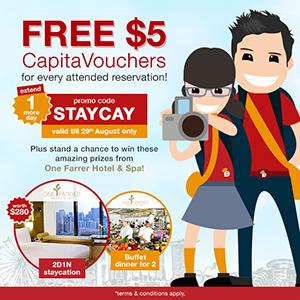 FREE $5 CapitaVouchers, 2D1N staycation and buffet dinner for 2 to give away!