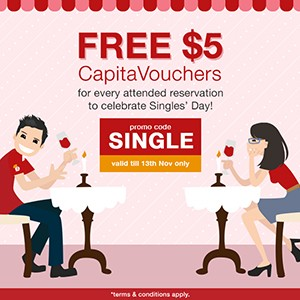 [Singles' Day Giveaway] FREE $5 CapitaVouchers up for grabs from today till Sunday!