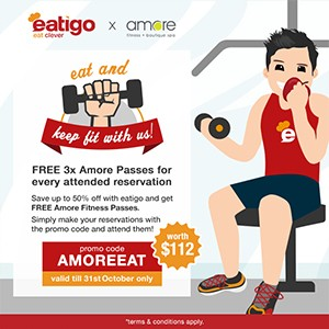 FREE Amore fitness passes worth $112 for the first 1500 attended reservations with eatigo!